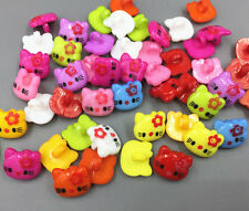 100pcs Mixed color Craft Resin kitten shape sewing buttons 14mm