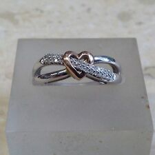 9ct 0.10ct Diamond Heart Design Ring. Size O.