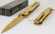 TAC-FORCE Super Knife Gold Godfather Stiletto Spring Assisted Opening Pocket