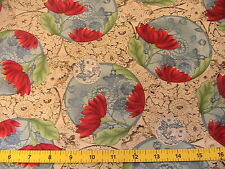 ORIENTAL FLORAL ABSTRACT cotton fabric~KUMIKO SUDO 2007~RARE scant 3 YARDS PLUS