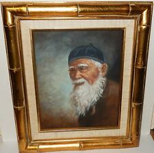 CHINESE MAN WITH WHITE BEARD ORIGINAL OIL ON CANVAS PAINTING UNSIGNED