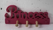 WOODEN COAT PEGS HOOKS HANGERS PRINCESS DESIGN CHILDRENS BEDROOM PAINTED NEW