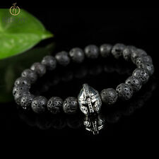 2016 Fashion Mens Lava Rock Stone Beaded Helmet Bracelet Spartan Knight Bracelet