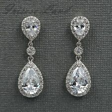18K White Gold Plated Cubic Zirconia CZ Wedding Bridal Drop Dangle earrings 8107