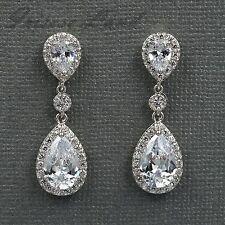 18K White Gold Plated Cubic Zirconia CZ Wedding Bridal Drop Dangle earrings 8107