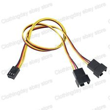 "Black 30cm 11"" 3 Pin Female to Dual 3/4 Pin Male Y Splitter Fan Power Cable"