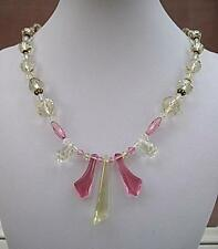 Fab Edwardian/Deco Cranberry Pink & Citrine Crystal Drop Necklace