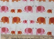 SNUGGLE FLANNEL *PINK & ORANGE ELEPHANTS*MAMA & BABIES*  100% Cotton Fabric BTY