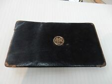 cheque book holder  jET BLACK LEATHER  GOLD EDGED Bond Street maker  1900s era