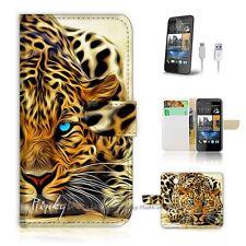 HTC Desire 510 Flip Wallet Case Cover! P0354 Blue Eye Leopard