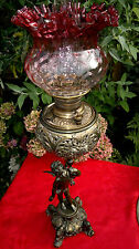 Rare C1892 Antique Miller Banquet Oil Lamp Figural Cherub Cranberry Shade 33""