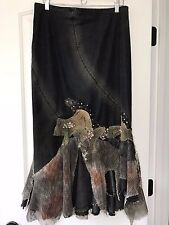 Black Denim and Lace Long Skirt HIT JEANS USA Steampunk Beads Sequin Sz L