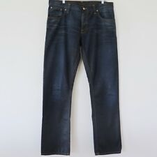 NUDIE MENS JEANS HANK REY FADED COATED INDIGO NJ3083 36x34 MADE ITALY FLY BUTTON