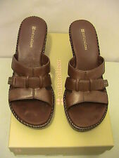 NATURALIZER TRAPPER ~ SIZE 8 M ~ BROWN LEATHER OPEN TOE WEDGE SANDALS SHOES
