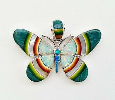 LOVELY ARTISAN TURQUOISE/MULTICOLOR INLAY .925 SILVER BUTTERFLY PENDANT