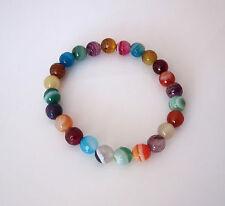 Natural multicolor banded Agate 8mm gemstone elastic bracelet
