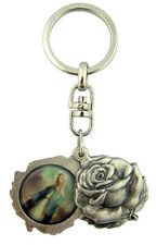 MRT Key Chain Ring Our Lady Of Grace & St Christopher Silver Plate Saint Locket