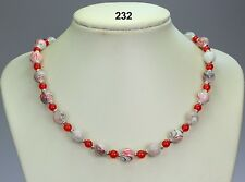 Red black grey striped glass drawbench 10mm bead necklace, red agate, silver