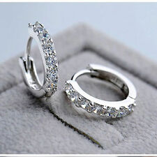 Women Jewelry White Gemstones Crystal 925 Sterling Silver Hoop Earrings Fashion