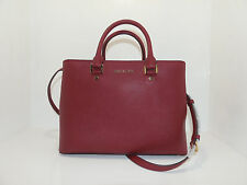 NWT New Michael Kors Handbag Savannah Bag Large Satchel Cherry Red Leather Purse