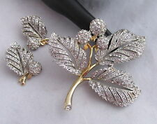 Vintage Reja Pave Rhinestones Silver&Gold Leaves&Berries Pin Brooch&Earrings Set