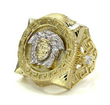 8 Grams 0.20ct 10k Yellow Real Gold Mens Medusa Head Gemstone Hip Hop Ring