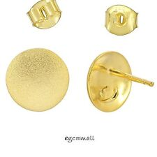 20kt Gold Sterling Silver Round Stud Post Earrings Connector #97611