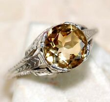 2CT Citrine 925 Solid Sterling Silver Art Nouveau Filigree Ring Sz 8