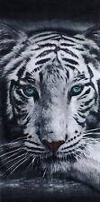 Tiger Strandtuch Badetuch  Tigerkopf schwarz-weiß in 100% Baumwolle