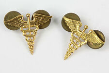 Insignes de col d'officier US MEDECIN / MEDICAL CORPS WW2  (matériel original)