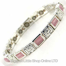 NEW Ladies Magnetic Bracelet with Faux Gemstones ROSE QUARTZ FREE GIFT BOX