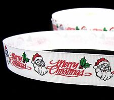 "2 Yds Christmas Merry Christmas Santa Grosgrain Ribbon 1""W"