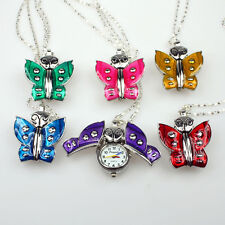 New Hot Sale 6pcs Mixed colour Girl Butterfly Necklace Pendant Watches GL8M6