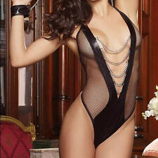 Hot-Women-Sexy-Lingerie-Lace-Dress-Underwear-Black-Babydoll-Sleepwear-G-string