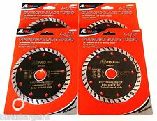 "4 ATE PRO 4-1/2"" DIAMOND TURBO WET DRY SAW BLADES WHEELS 40262 CONCRETE"