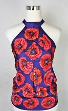 New Gucci Blue Red Poppy Silk Floral Scarf Halter Top 327378 4574