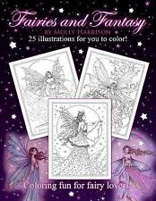 Fairies and Fantasy by Molly Harrison : Coloring for Adults and Older Fairy...