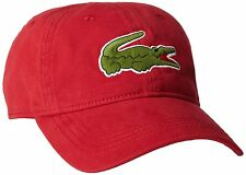 NEW LACOSTE MEN'S PREMIUM CROC LOGO BASEBALL ADJUSTABLE HAT CAP TOKYO RED