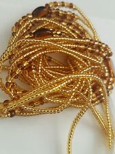 "African  Gold & Brown Waist Beads, 3-in-1, Body Jewellery, 37""inches long New"