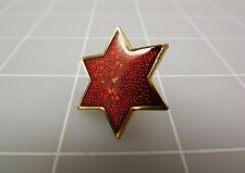 Lapel Pin Gold Tone RED STAR 1""