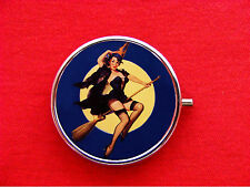 WITCH PIN UP GIRL WICCA BROOM ROUND METAL PILL MINT BOX CASE
