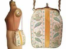 Vtg. Silk Brocade & Yellow Velvet Tapestry Evening Purse- Shabby Retro