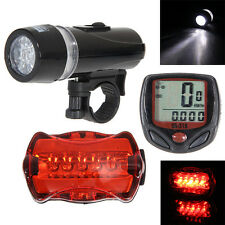 LCD Bicycle Speedometer + 5 LED Mountain Bike Cycling Head Light + Rear Lamp Red