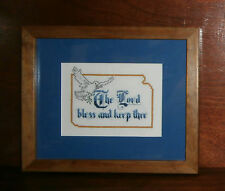 "The Lord Bless and Keep Thee Finished Framed Cross Stitch 10.5"" x 9"" Dove"