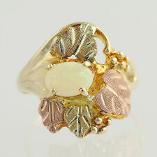 Opal Black Hills Gold Ring - 10k Yellow Green Rose Gold Oval Solitaire 0.47ct