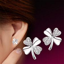 Womens1 Pair Silver Plated Lucky Clover Love Ms Earrings Jewelry Fine Jewelry 3C