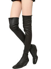 RICK OWENS Black Leather Thigh High OTK Low Wedge Boots EU 41  US 11