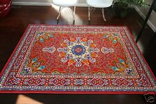 9x12 Isfahan RED Orange Blue Oriental Modern Persian Multicolor Area Rug 10x13
