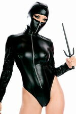 New black hooded wet look teddy bodysuit lingerie fancy dress size UK 12