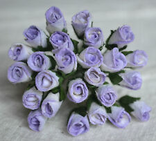 48 LIGHT LILAC ROSE BUDS (L) Mulbery Paper Flowers for wedding miniature cards